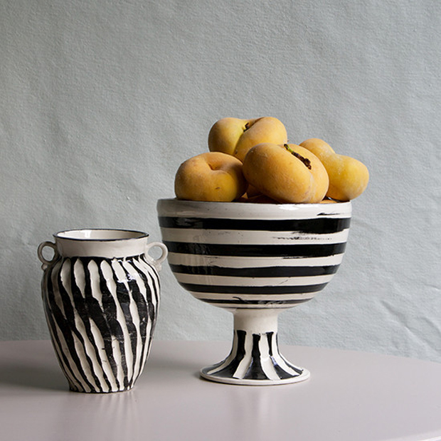 Black and White Horizontal Footed Bowl