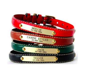 Classic Flat Leather Personalized Engraved Dog Collars