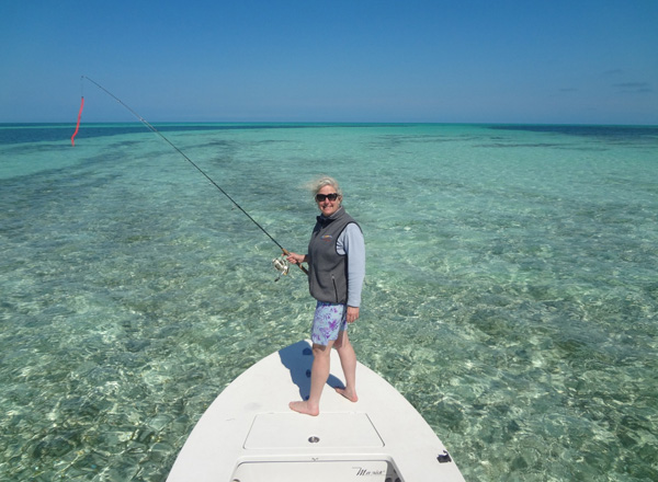 Melanie Tucker fishes the flats in Key West.