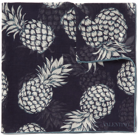 Pineapple-Print Cotton and Silk-Blend
