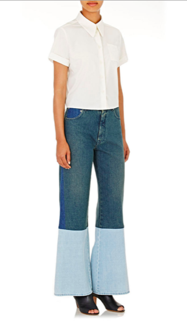 MM6 Maison Margiela Colorblocked Denim Wide-Leg Jeans 1